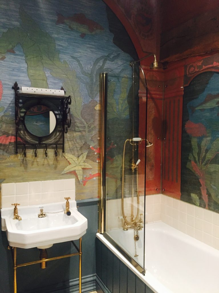 The hand-painted bathroom