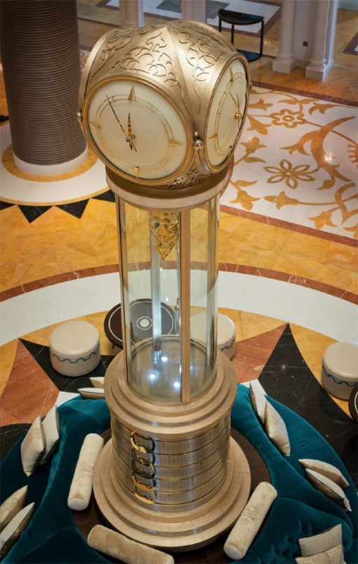 Iconic Waldorf Astoria Ras Al Khaimah clock by Smith Of Derby (photo from Smith Of Derby site)