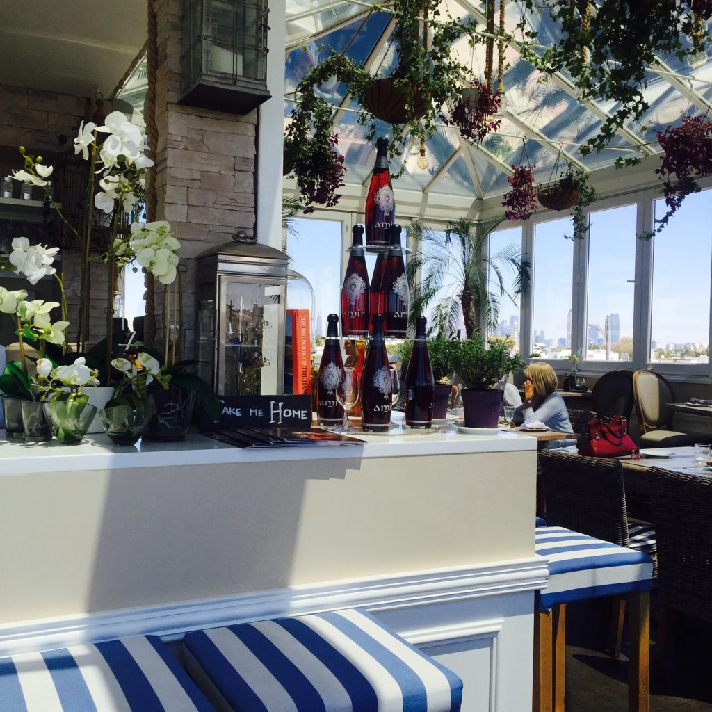 The cafe keeps a beach-y, nautical theme throughout