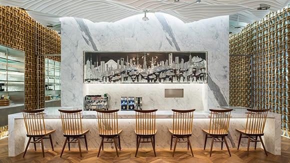 The sleek bar area