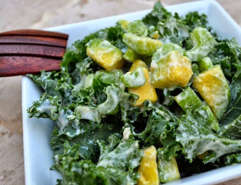 The fresh kale and avocado salad