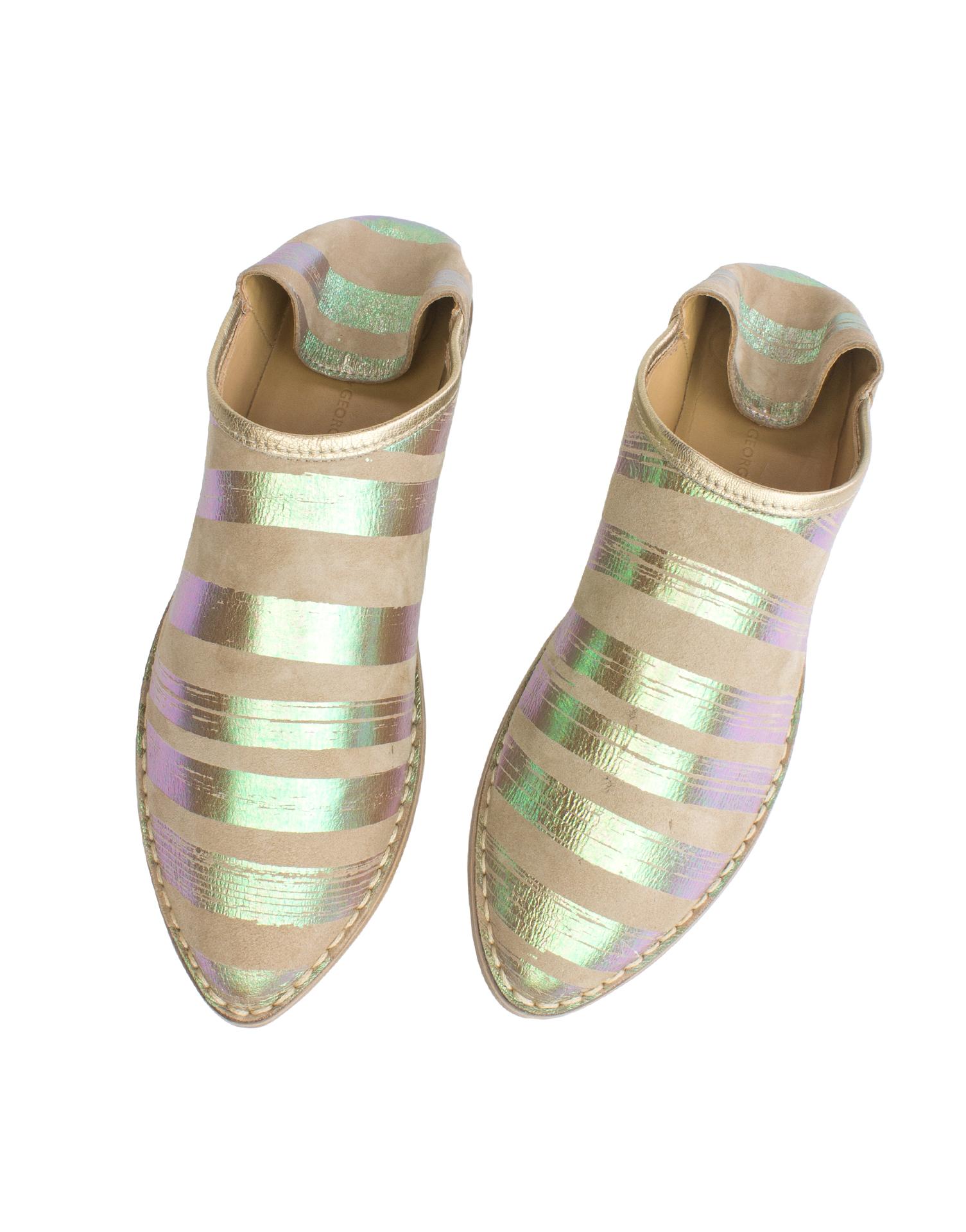 Georgina Goodman - Buff & Iridescent Striped Slipper