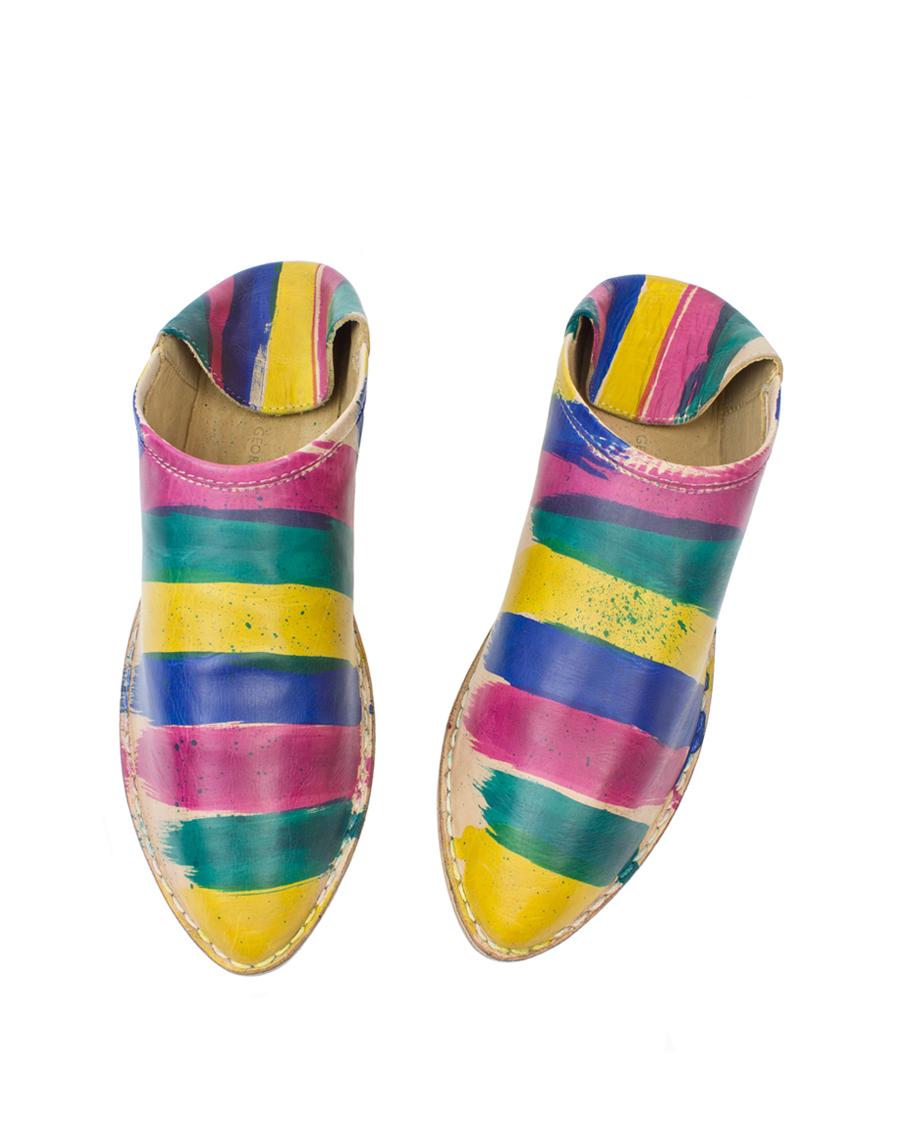 Georgina Goodman - Hand-painted Striped Rainbow Slipper