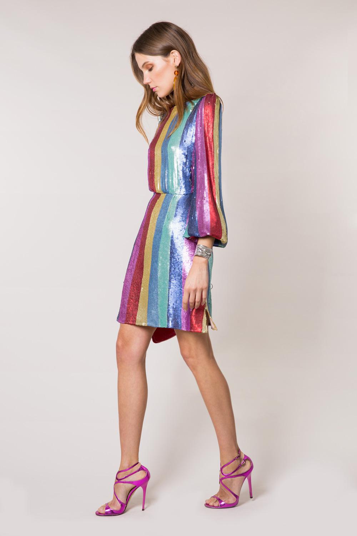 RIXO - Multi Stripe Sequin Ava Dress