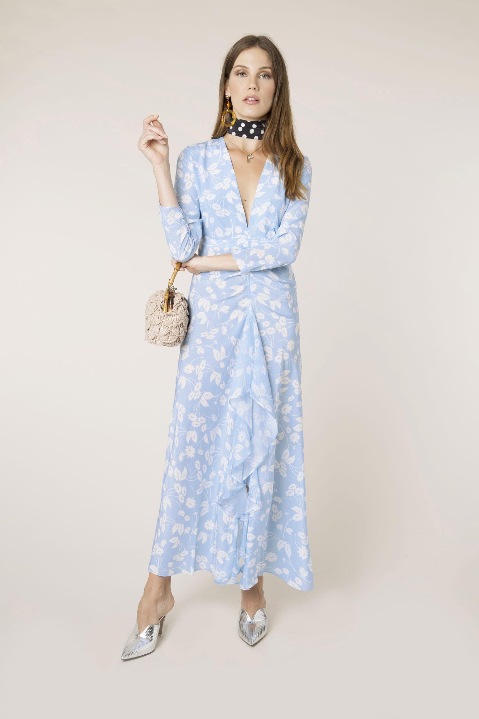 RIXO - Abstract Daisy Blue Rose Dress