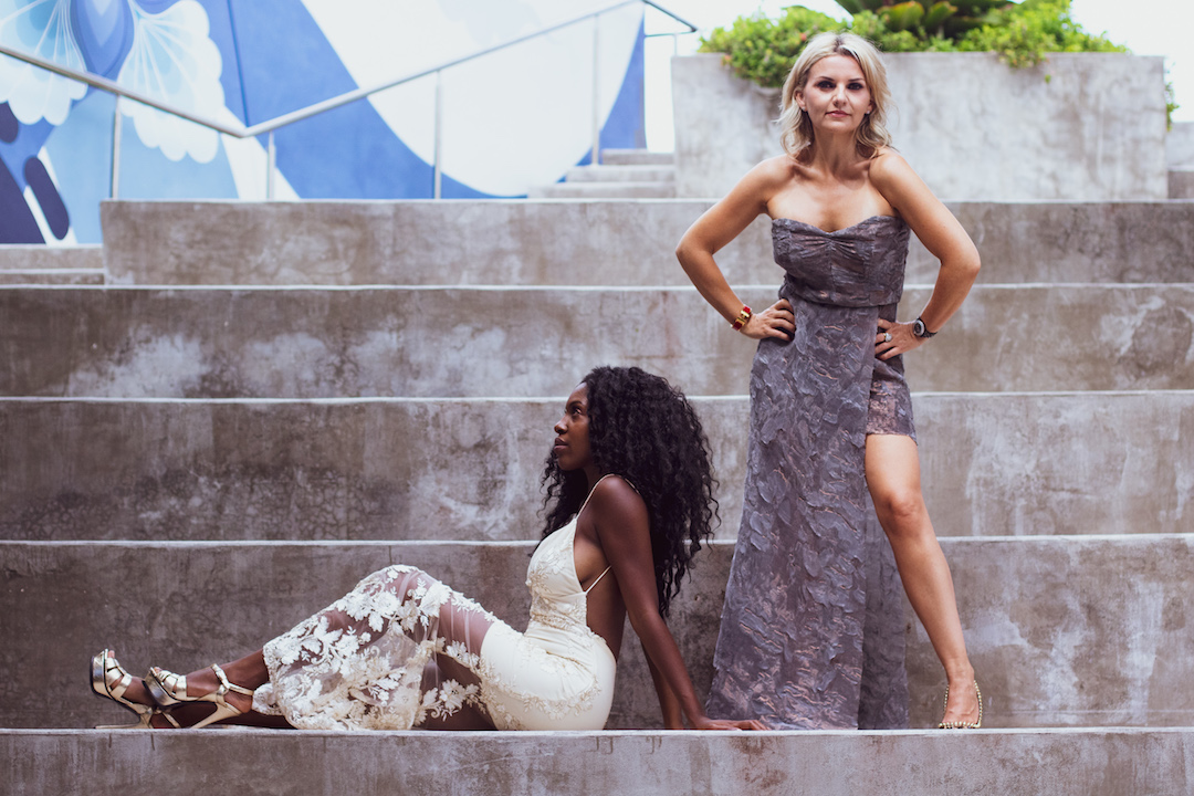 Pra in Nadjarina with singer-songwriter Keba, posing in Miami where Pra was before heading to London for the ball  (photo by  Passion Ward ; makeup by  Cristina Rosario )