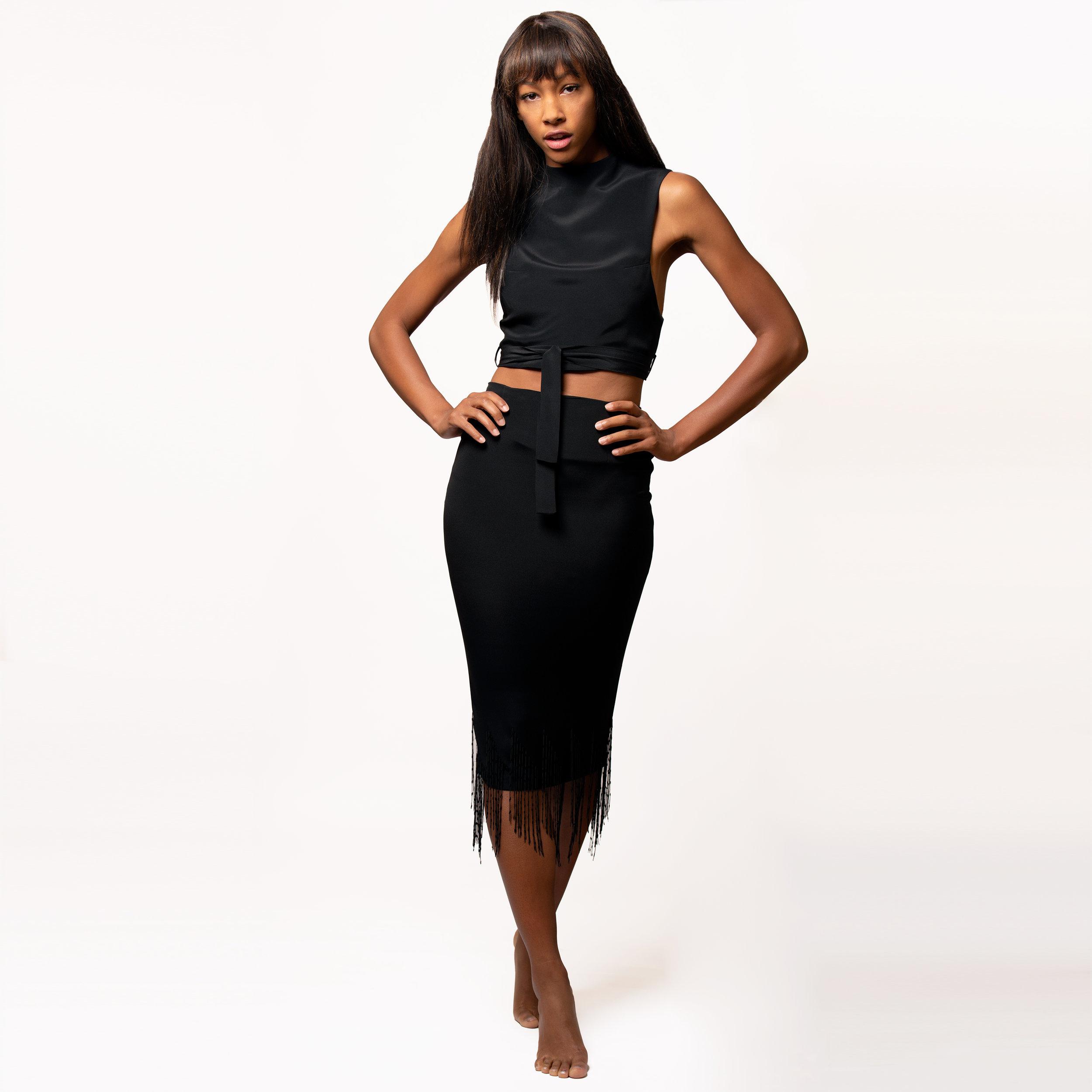 Nadjarina - Chain Fringed Stretch Silk Skirt