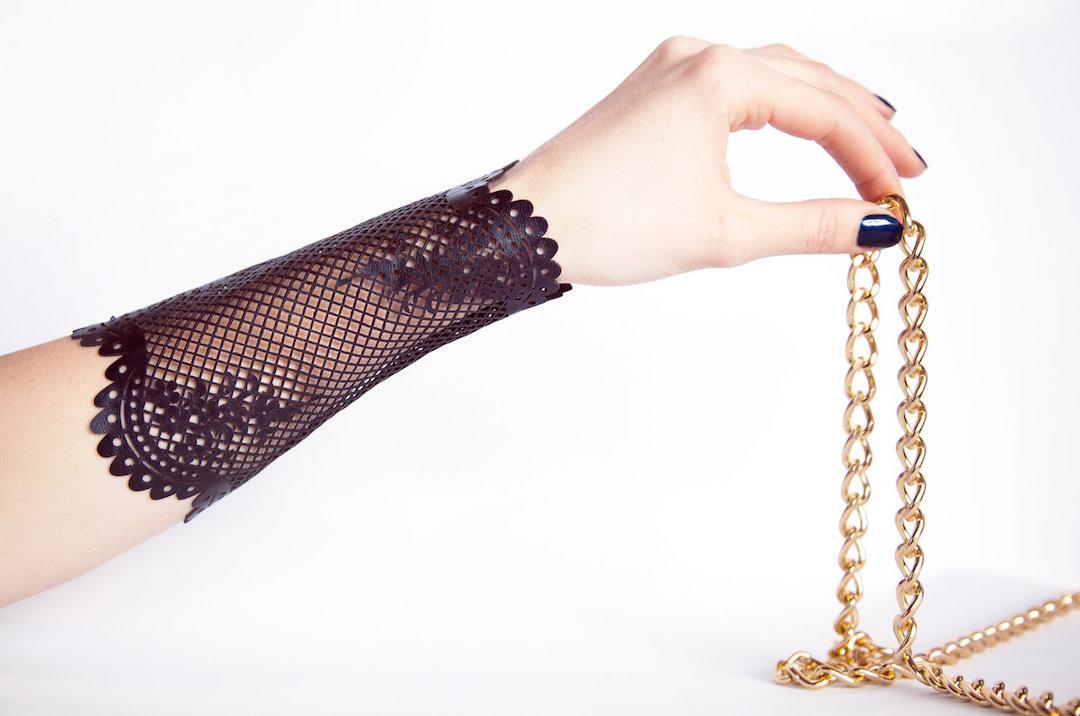 The Eva bracelet (laser cut black lambskin leather)