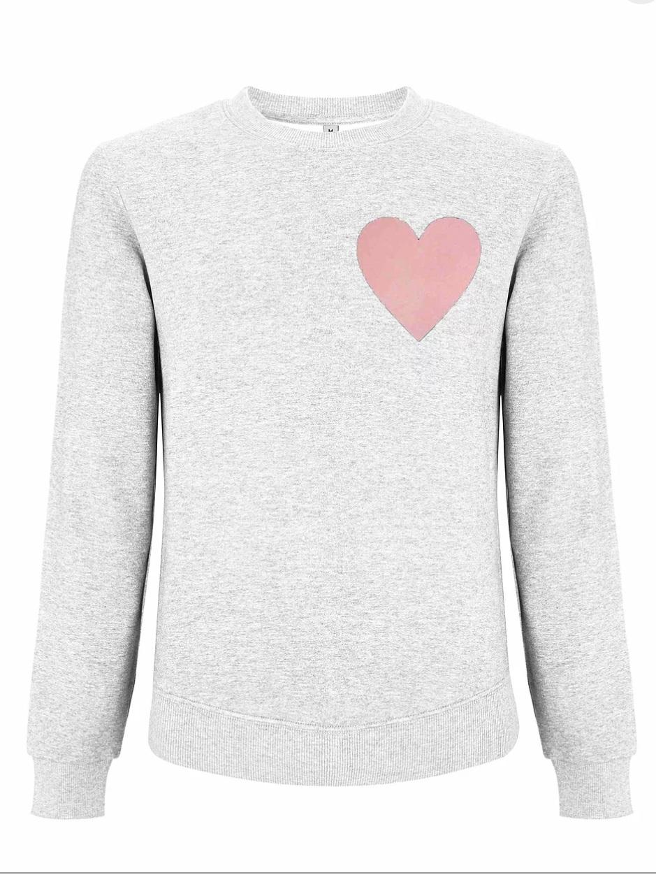 Crown Love - Melange White Sweatshirt With Heart