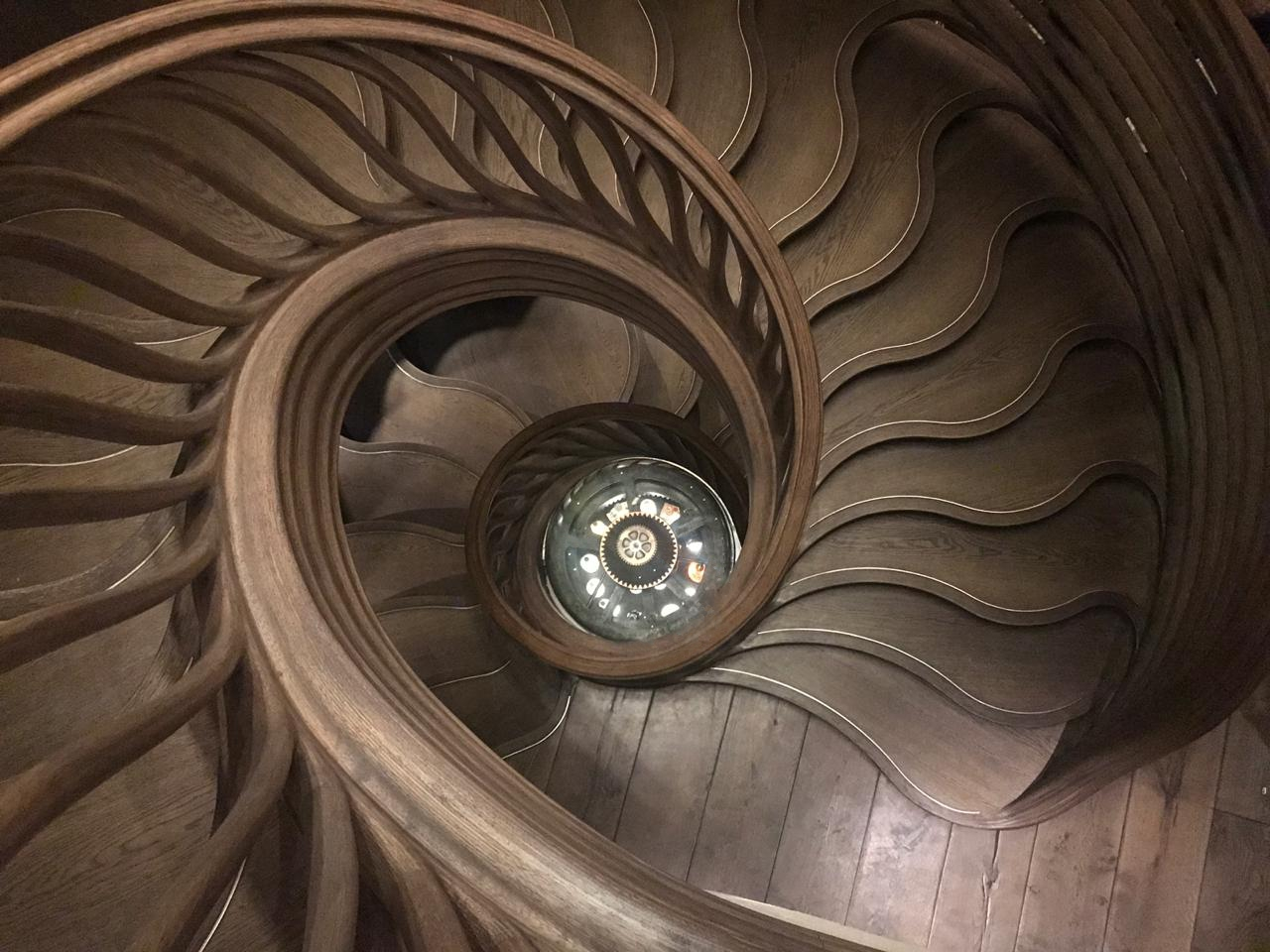 Hide's most talked about design detail - the theatrical spiral staircase.