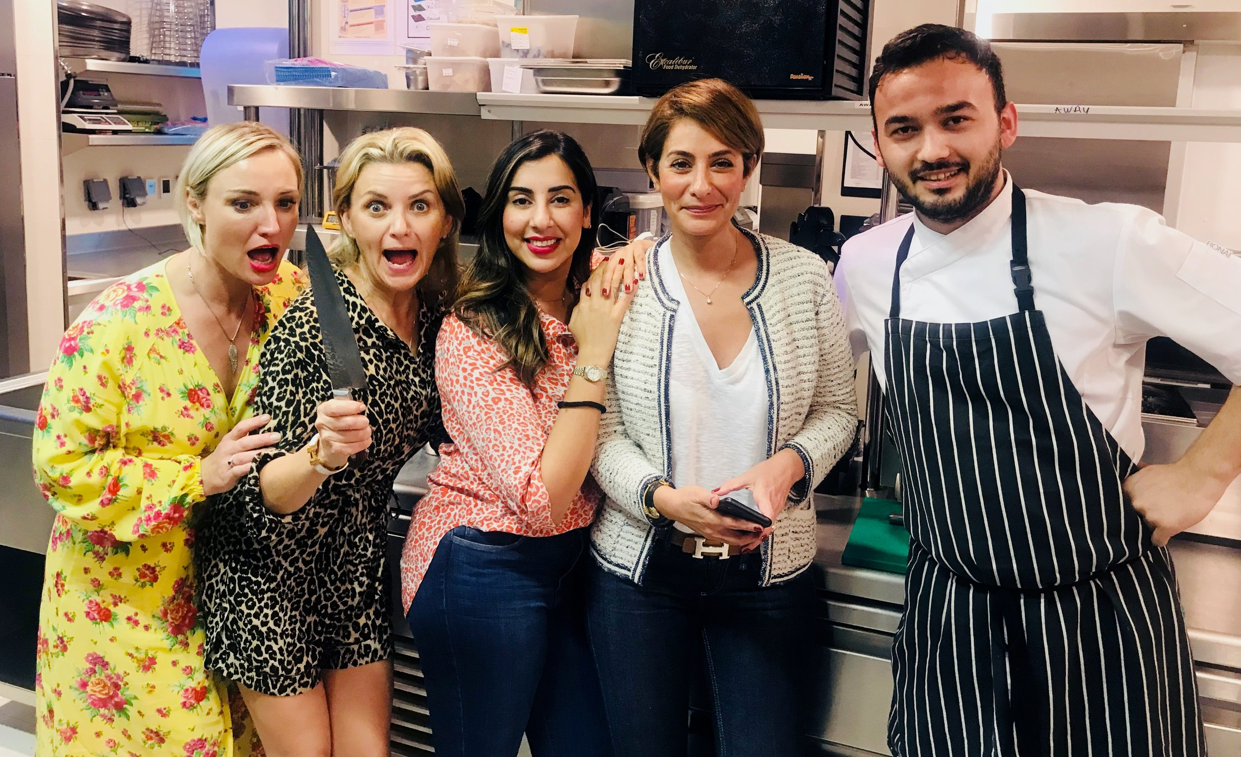 #rebelleboss ladies (Anna Royall-Smith, Mary Pratt, Suman Jalaf, Sherrie Asgari) up to no good and trying to rope in Chef Gokhan Cokelez