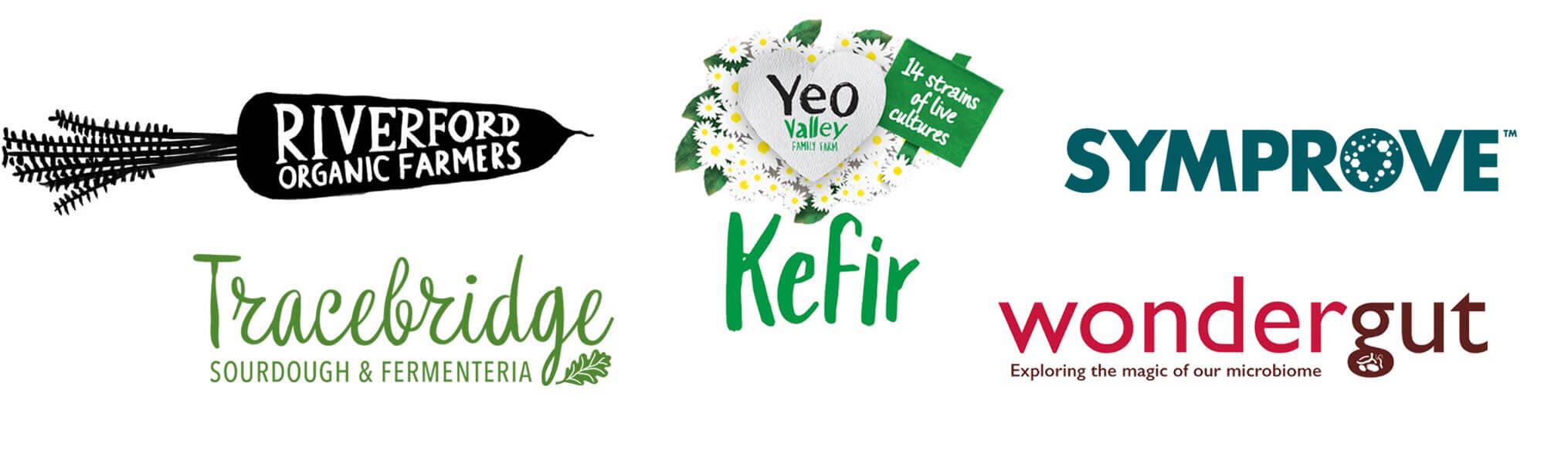Sponsor logos, Riverford, Yeo Valley, Symprove, Tracebridge, Wondergut