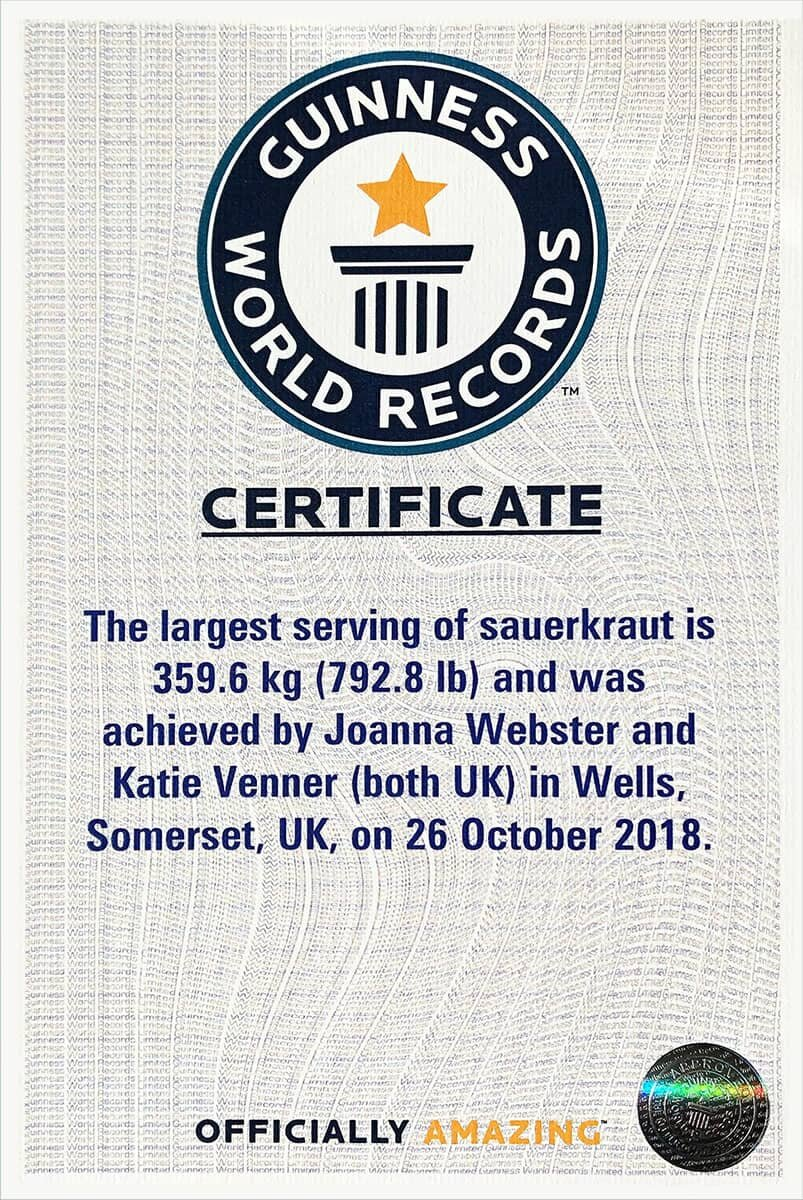The official certificate from Guinness World Records, and our    online listing   !