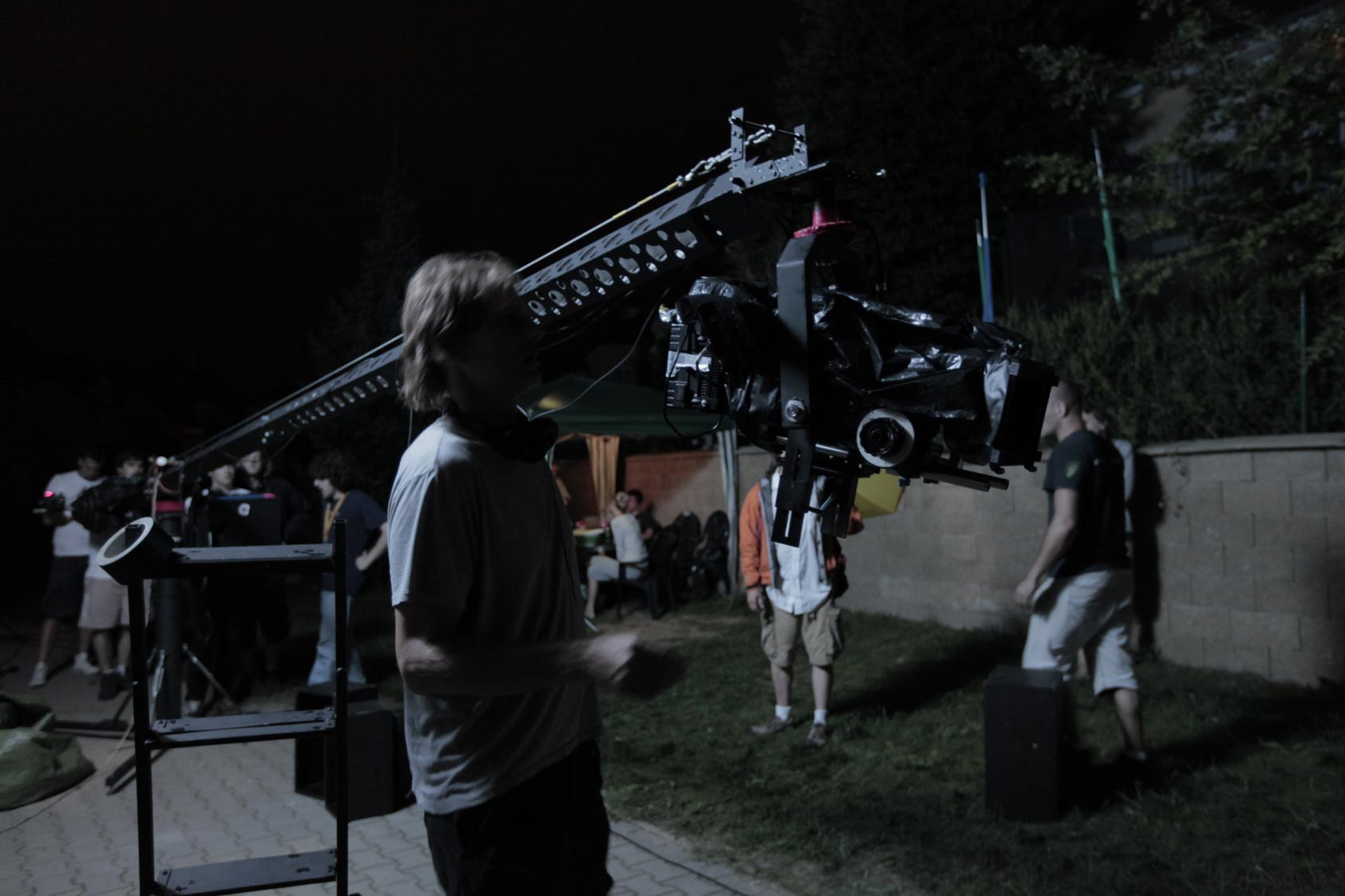 Crane in the location. Filming in Prague