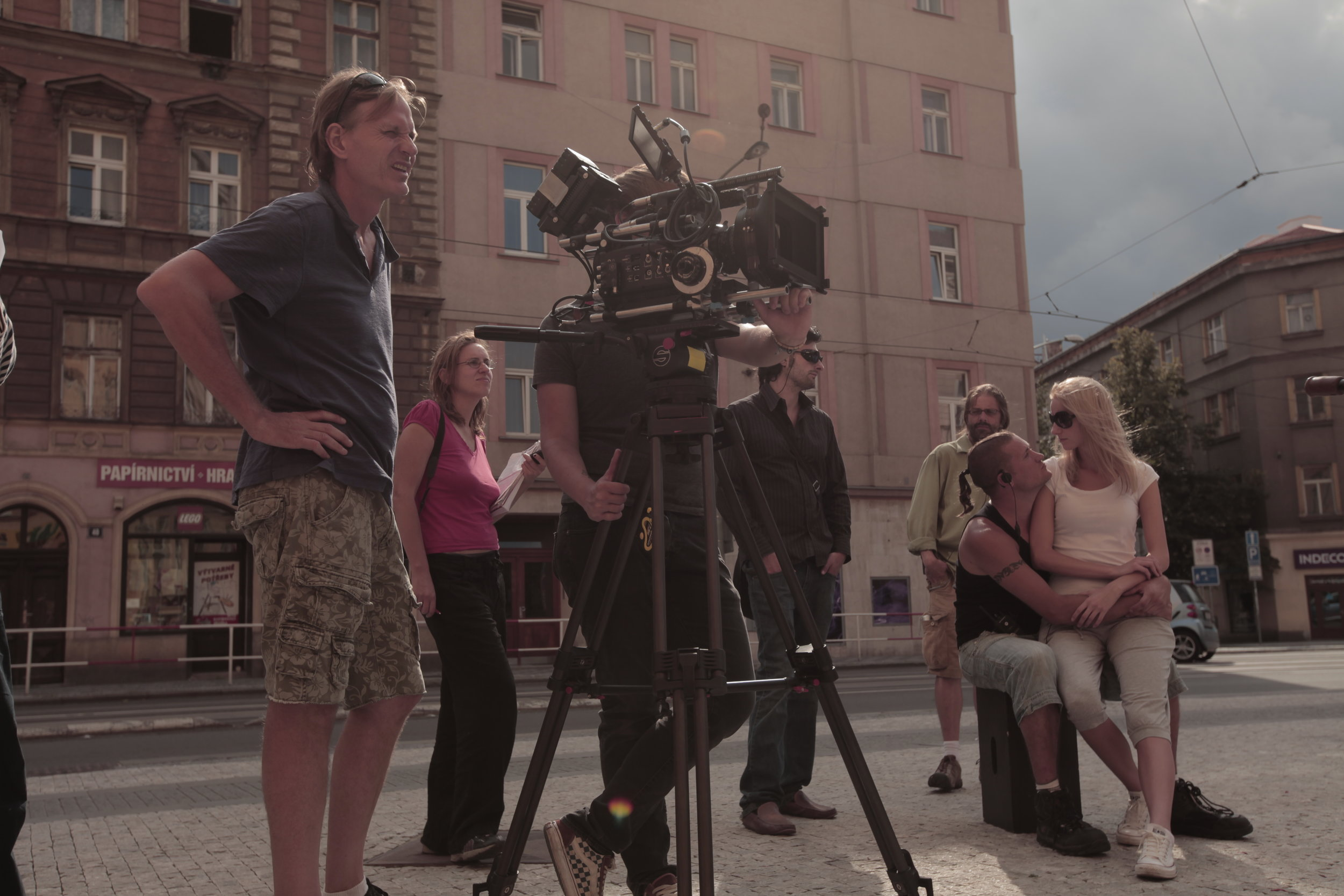Film crew with the Red Camera