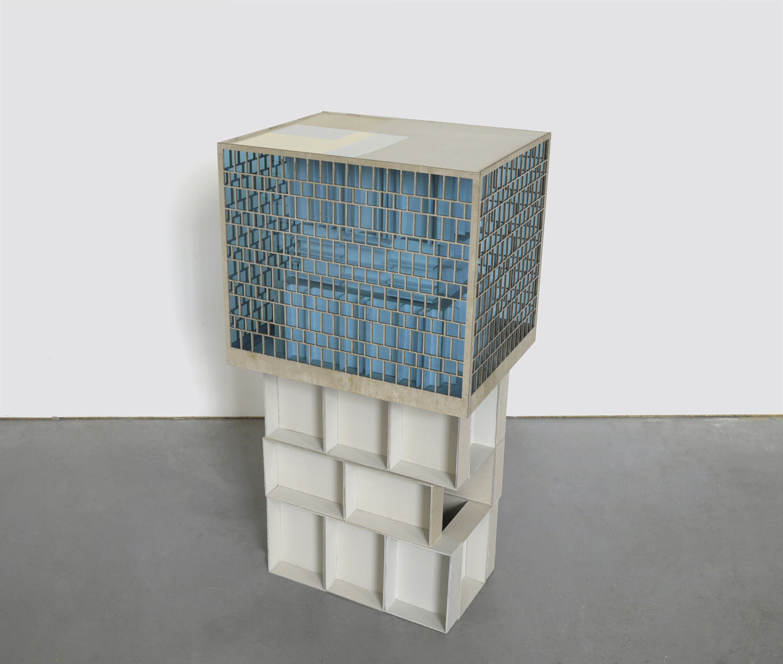 Räume unter sich, 2015, cardboard, acrylic glass, 90 x 46 x 37 cm
