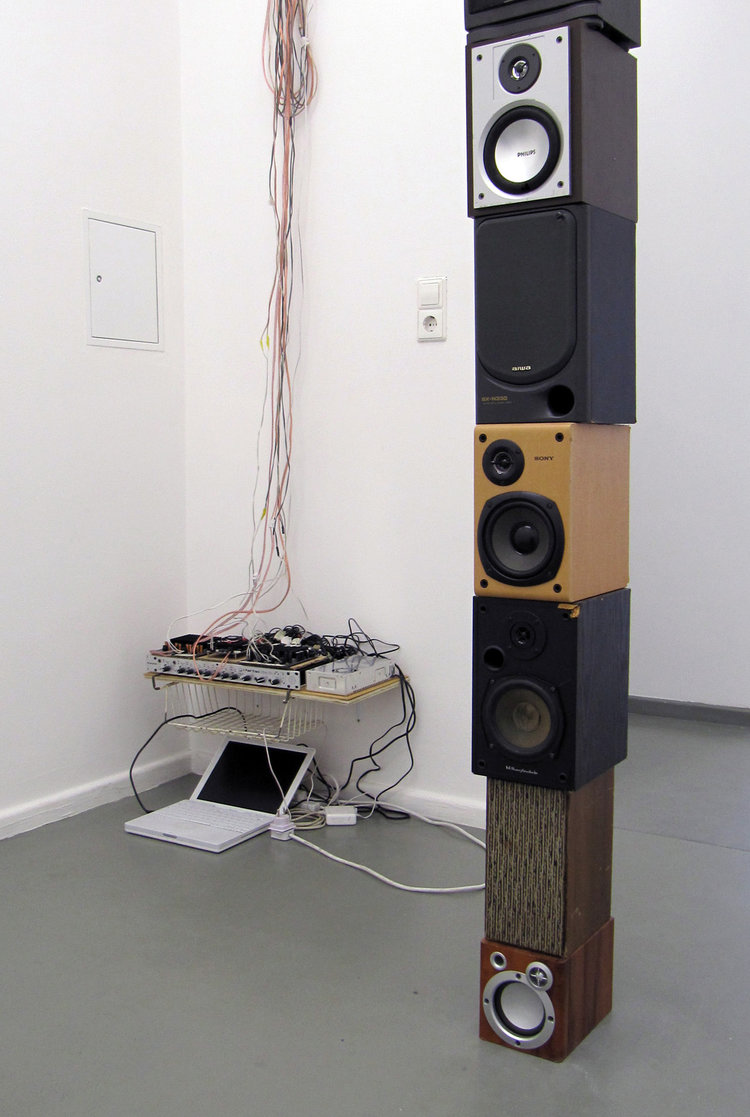 Stacked, 2014, sound, loudspeaker, amplifier, 285 x 25 x 24 cm, Rasche Ripken, Berlin