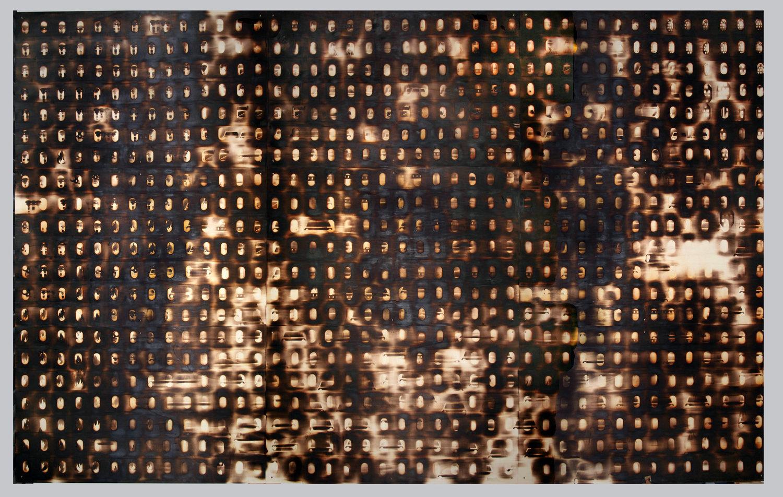Brandwand, 2016, branding on wood, 300 x 480 cm