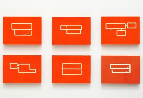 PE (Sprechblasen), 2008, polyethylene inlay, each 21 x 29 cm