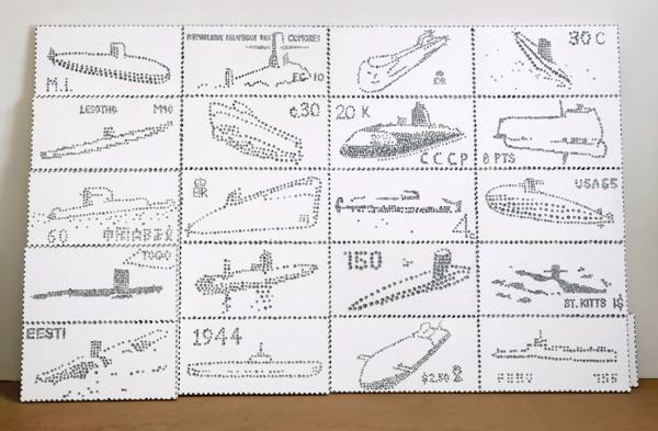 Briefmarkensammlung (Uboote), 2005, styrofoam, silver lacquer etching, 250 x 400 cm