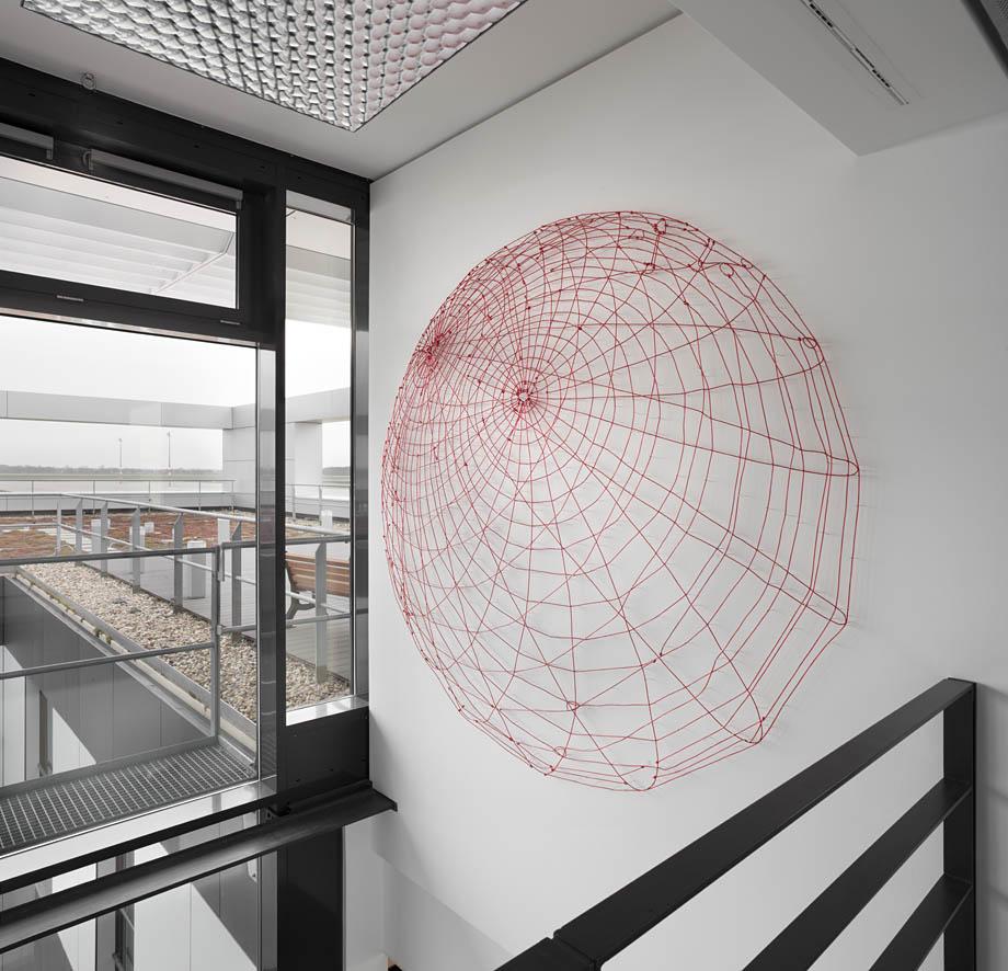 Globus, 2011, plastic cord on nails, Ø 220 cm, permanent installation, airport Berlin-Brandenburg