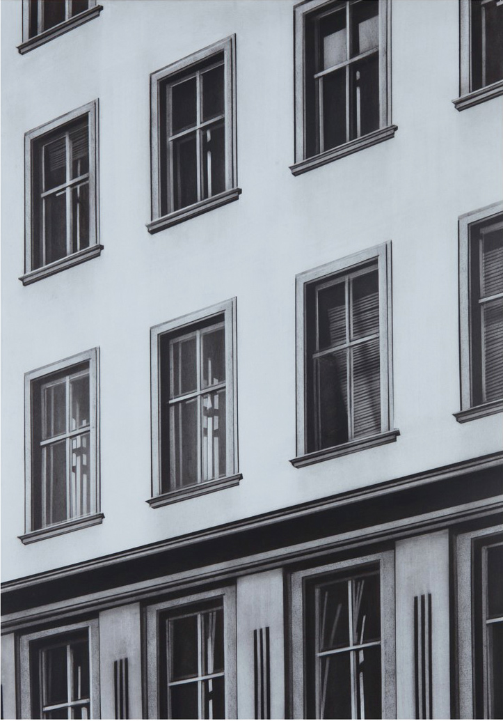 Schuinzicht Apartment, 2017, Kohle auf Papier,  76,5 x 53,5 cm