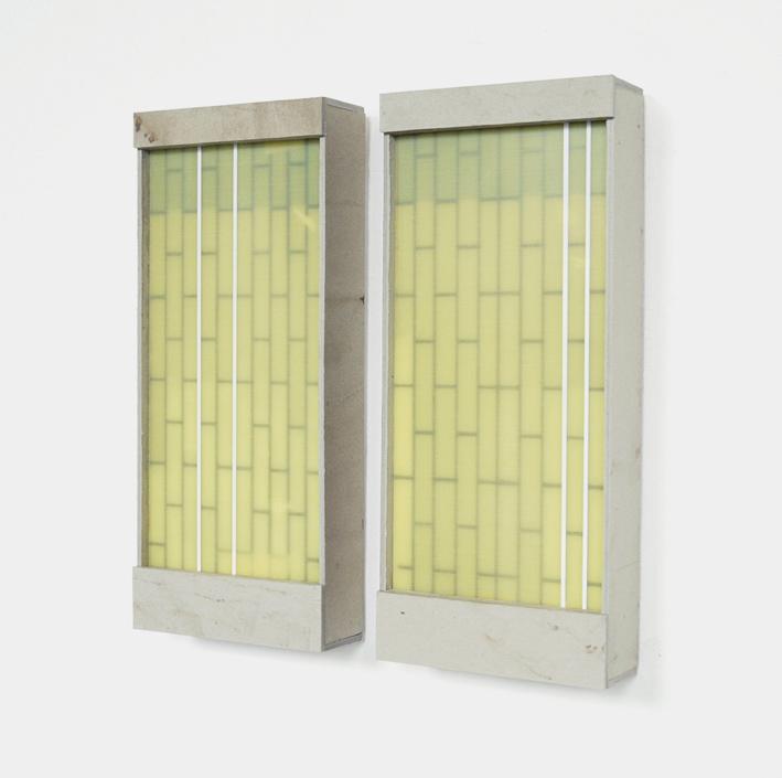Verband II, 2017, Karton, GFK, je 37 x 16 x 5 cm