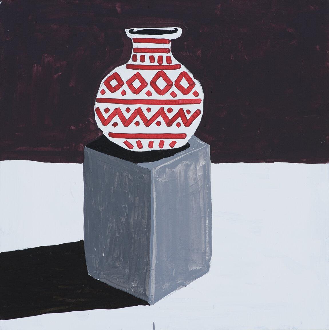 Vase auf Sockel, 2017, acrylic on canvas, 70 x 70 cm