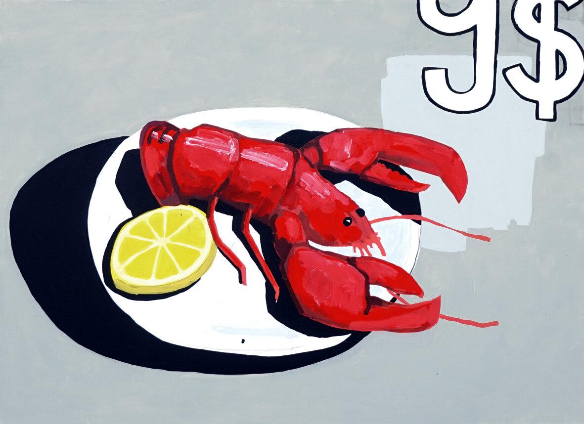 Lobster, 2018, acrylic on canvas, 145 x 200 cm