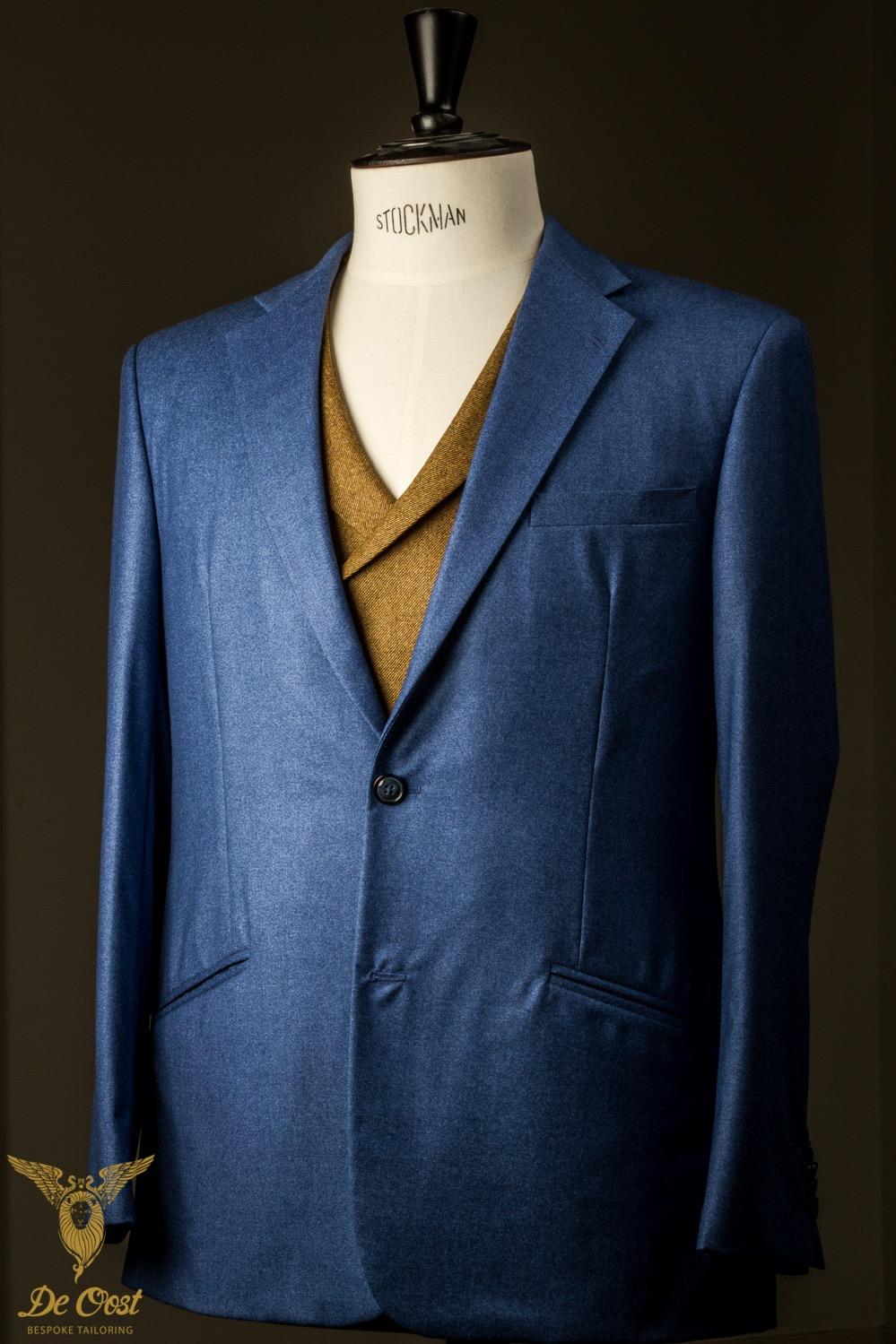 - (Trouw)pak kostuum Flanel IJsblauw & Oker vest gilet