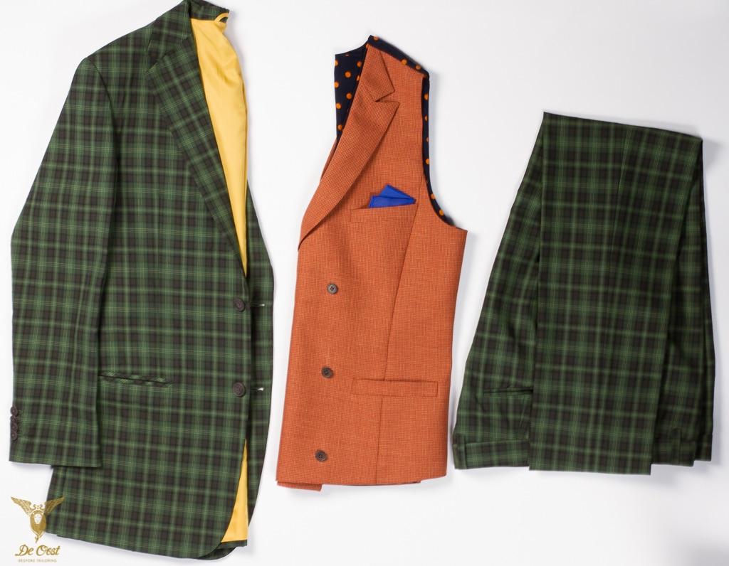- Groen Ruit pak double breasted vest trouwen bohemian