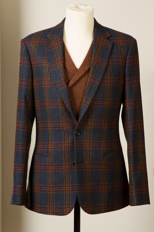 - Blazer Jacket Wol Kasjmier Blue Brown Mock Glen Plaid op maat