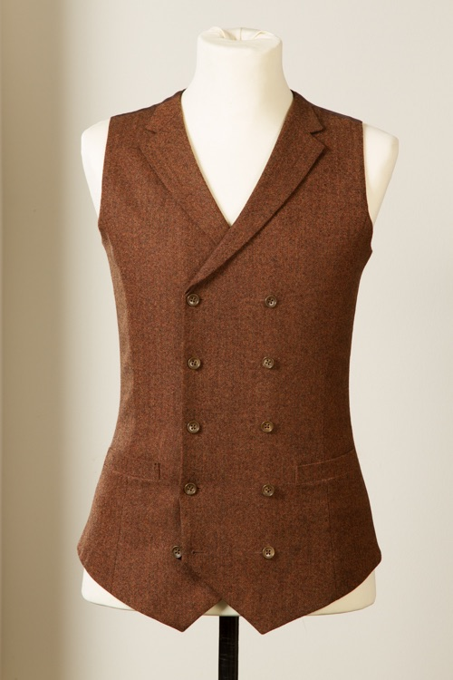 - Wol Vest Gilet tailor made double breasted Rust Herringbone 38 inch