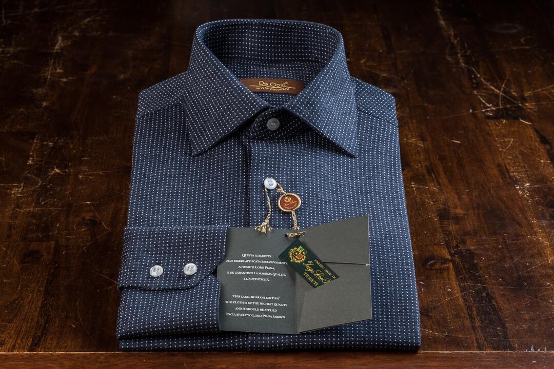 Bespoke Overhemd Heren Knitwear Loro Piana Katoen Donker Blauw