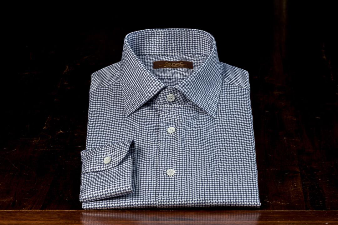 Overhemd Op Maat Heren Bespoke Blauw Grijs Houndstooth Monti Egyptisch Katoen