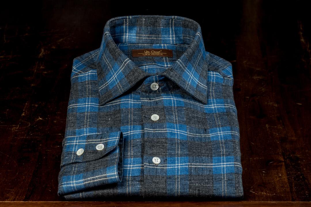 Handgemaakt Overhemd Heren Bespoke Flannel Checks Thomas Mason Seasonal Collection