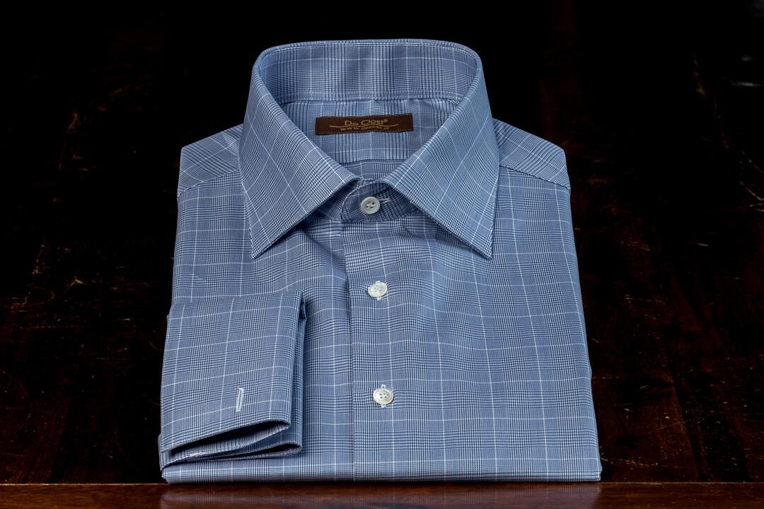 Overhemd Op Maat Heren Bespoke Poplin Thomas Mason Blauw Wit Overcheck