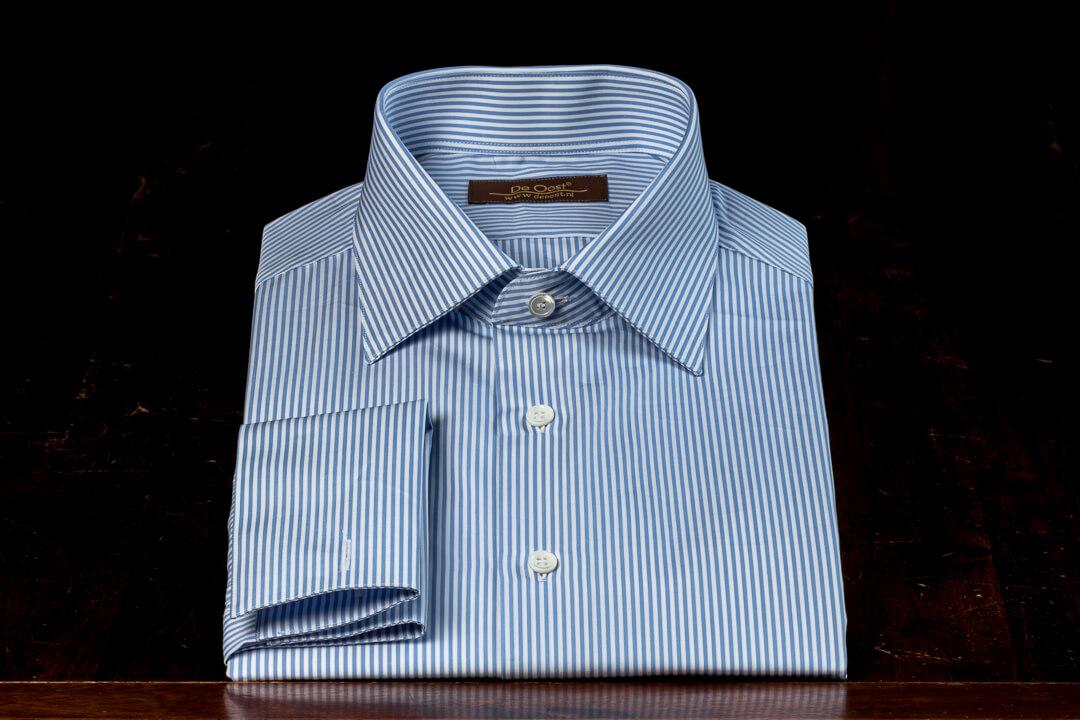 Handgemaakt Shirt Heren Bespoke Poplin Katoen Sea Island Wit Blauw Hairline Streep
