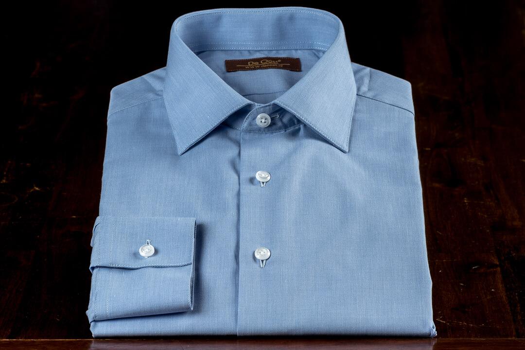 Op Maat Handgemaakt Zakelijk Werk Overhemd Napolitaans Blauw 1 Knoops Manchet