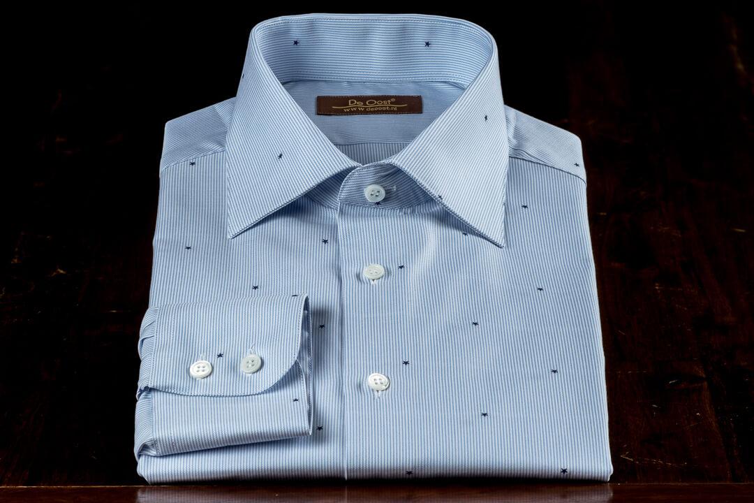 Op Maat Handgemaakt Zomer Overhemd Blauw Wit Met Ster Accent Thomas Mason Seasonal Collection