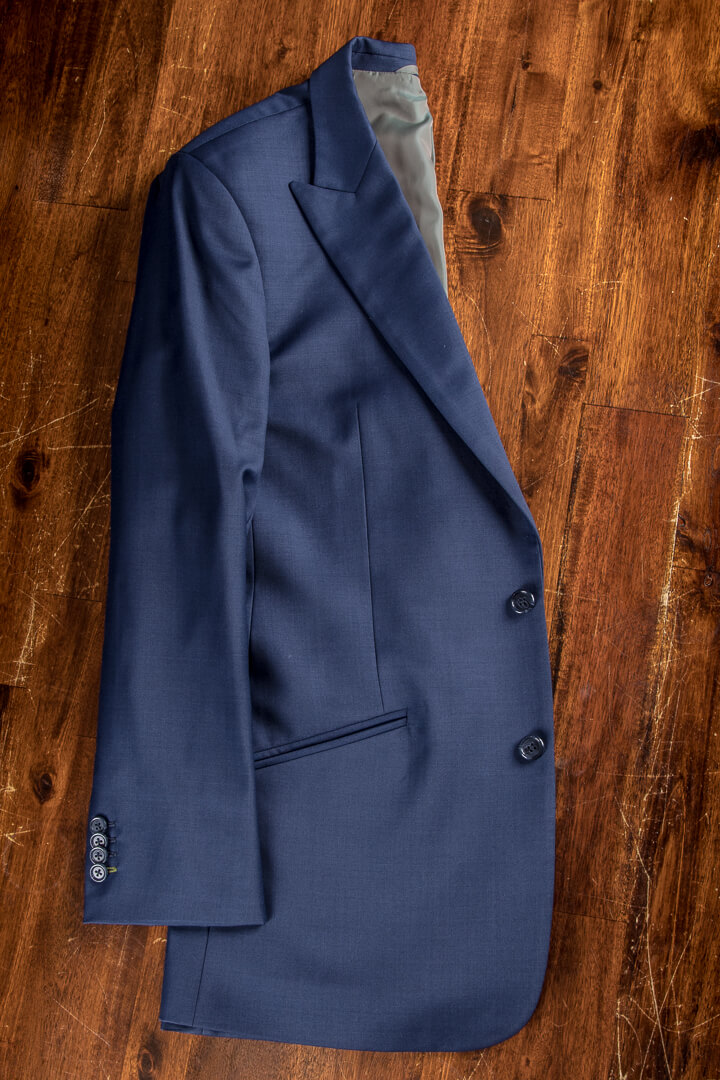 - Plain Weave Blauw Italiaans Formeel Werk Pak Kostuum Opgesneden Revers Full Canvas