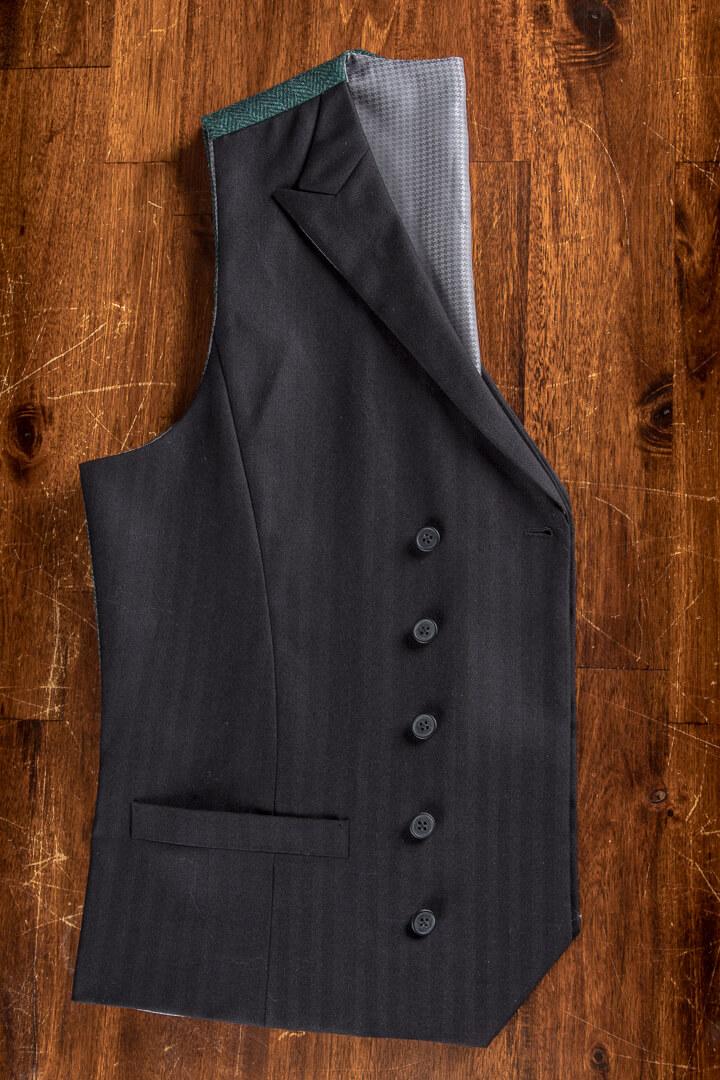 - Zwart Vissengraat Vest Met Tweed Rug Donker Groen Peak Lapel Full Canvas