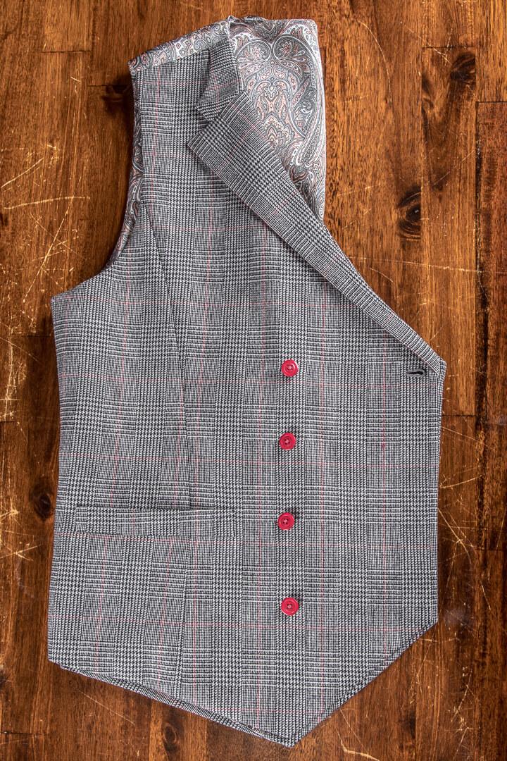 - Double Breasted Vest Glen Check Ruit Met Paisley Voering Rode Knopen Weggesneden Revers Vintage 1920