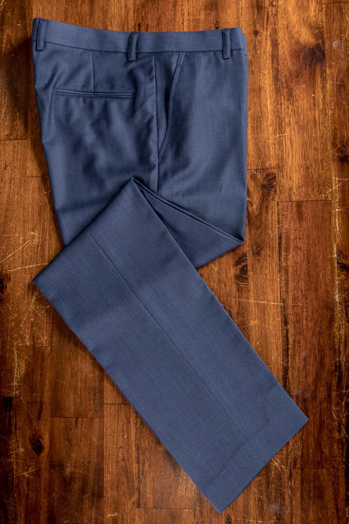 - Birdseye Grijs Blauw Broek Super 120s Wol Dutch Design
