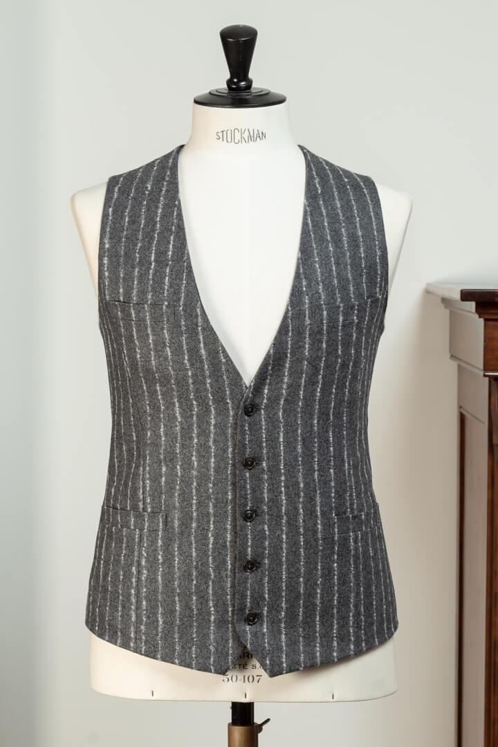 - Vest Mid Grijs Krijt Boucle Streep Super 100's Wool Woollen Spun 340gm Chequers Holland & Sherry