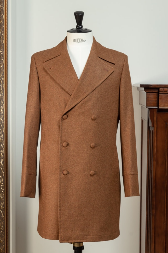 - Overjas Op Maat Double Breasted 6x2 Flannel Bright Tan Twill Huddersfield Fine Worsteds