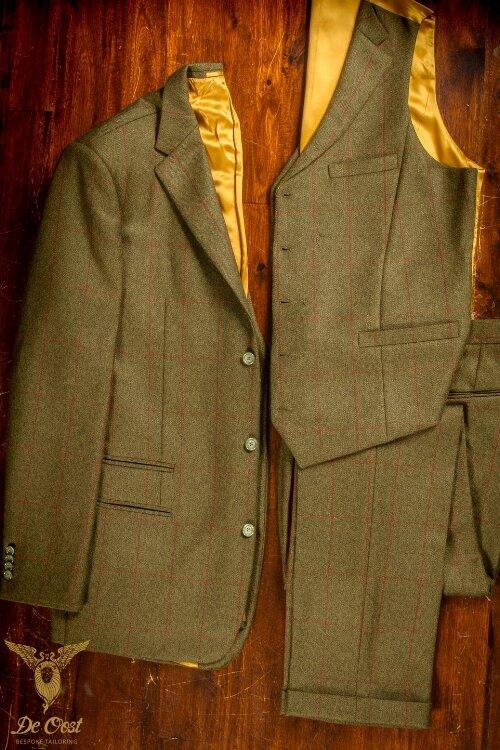 - 3 delig Tweed klassiek maatpak voor jacht, ruitersport laten maken Grouse Moor Holland Sherry