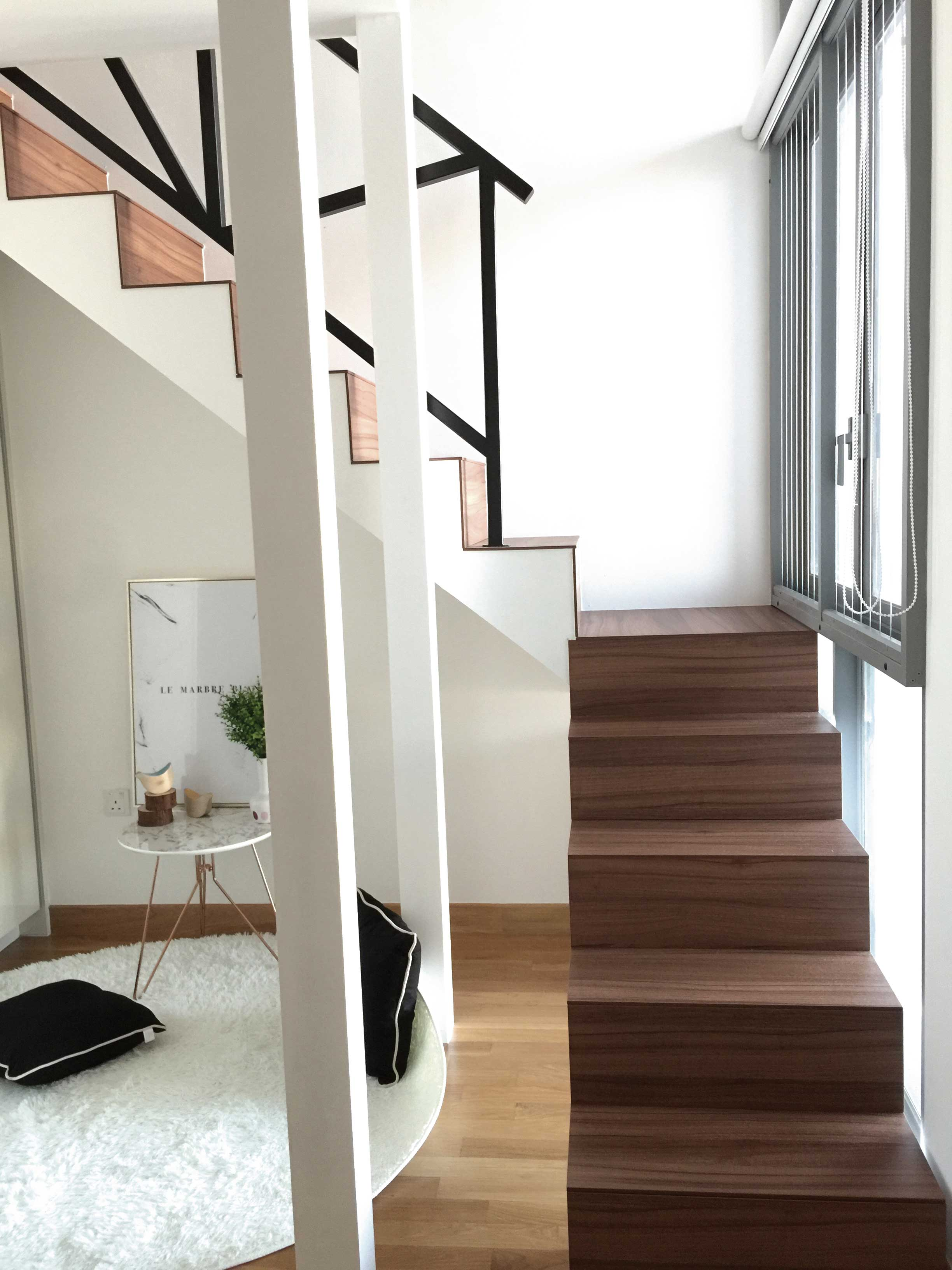 A mini loft was created in the master bedroom to free up more usable space for future use.