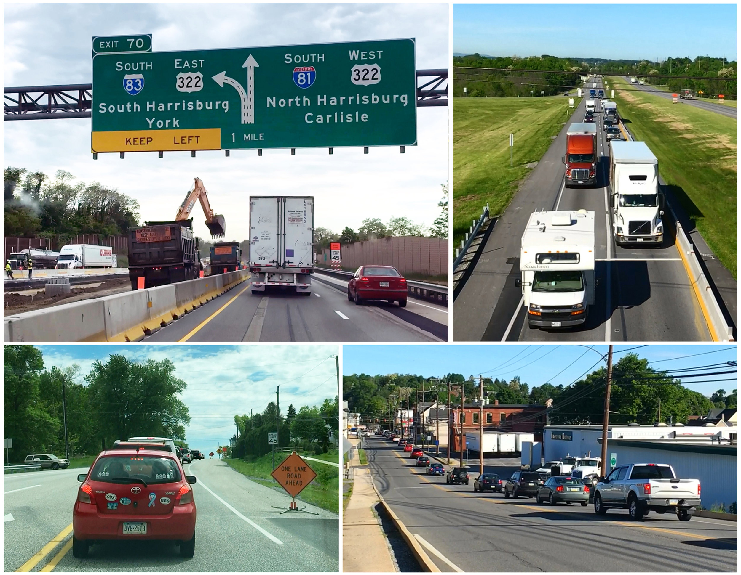 Photos of traffic on area roadways
