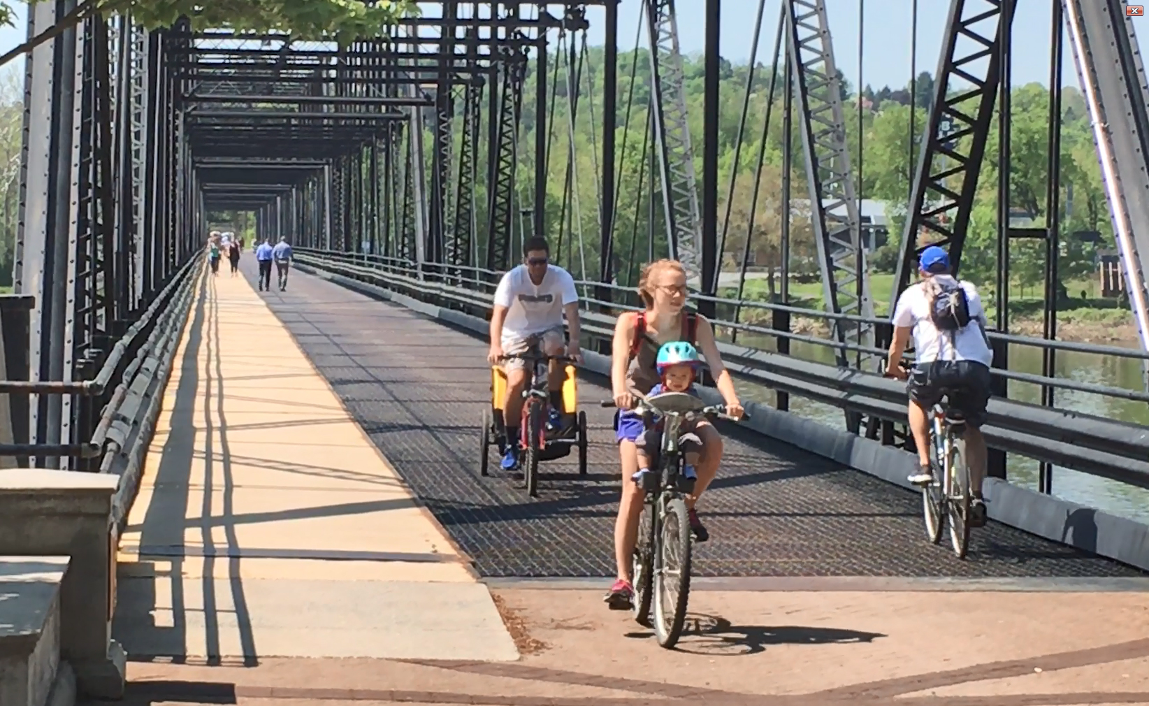 Bicyclists and pedestrians on the Walnut St. Bridge, Harrisburg